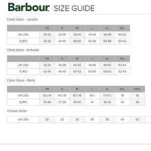 barbour size guide